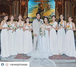 Can't get over with this All White Wedding 😍😍😍 entourage gowns by #lovecmanila #Repost _vanespino