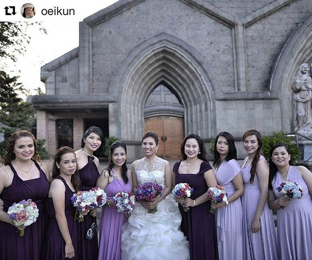 Beautiful bridesmaids of _oeikun wearing Love, C custom infinity gowns in shades of purple 💜 thank