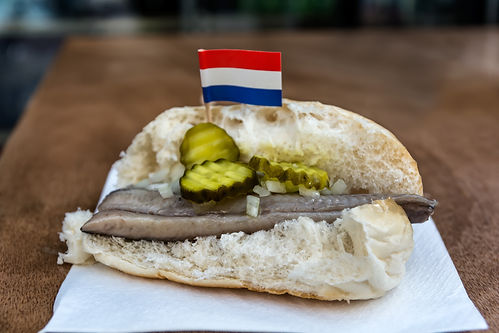 Traditional dutch snack, seafood sandwic