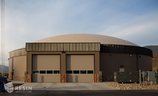Back view of pull through bays at South Summit Fire Station.