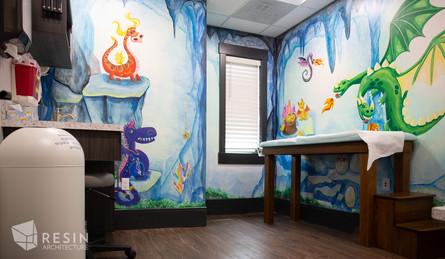 Custom dragon mural in one of the exam rooms at Idaho Falls Pediatrics.