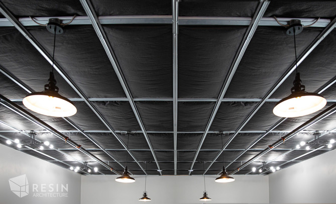 Detail shot of the painted black ceiling at Total Trailer Co. in Idaho Falls.