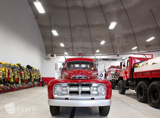 Vintage firetruck inside South Summit Fire station.