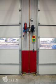 View of bay doors inside South Summit Fire Station.