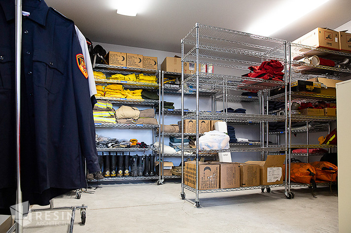 View of a storage room inside South Summit Fire Station.