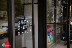 Front door of Sweet Cheeks Meats