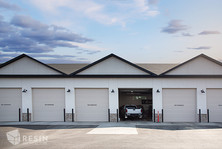 Image of the bay doors of Elite Auto Sales in Idaho Falls.