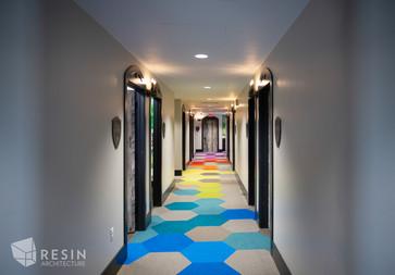 Custom hexagonal carpet at Idaho Falls Pediatrics.