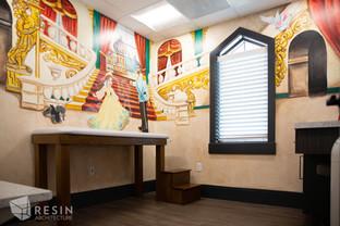 Custom palace mural in one of the exam rooms at Idaho Falls Pediatrics.