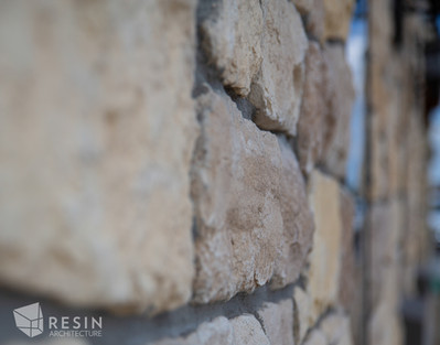 Close up detail of the stone work on the exterior of Idaho Falls Pediatrics.