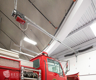 View of a firetruck and the domed ceiling inside South Summit Fire Station.