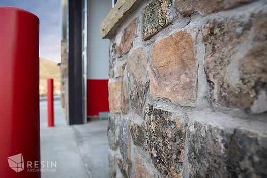 Detail of stonework on the exterior of South Summit Fire Station.