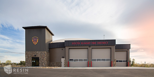 Full view of the front exterior of South Summit Fire Station.