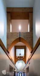 Vaulted ceilings with custom beams and woodwork at Idaho Falls Pediatrics.
