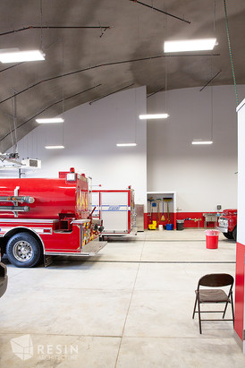 View of the rear of a fire truck inside South Summit Fire Station.