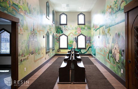 Chapel-like pews in the waiting area of Idaho Falls Pediatrics.