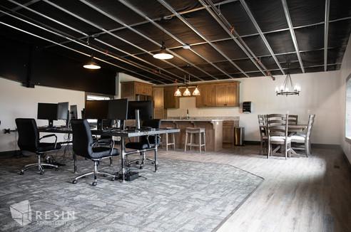 Break room and work area inside Total Trailer Co. in Idaho Falls.