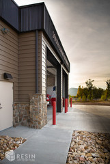Angled view of the front bay doors of South Summit fire Station.