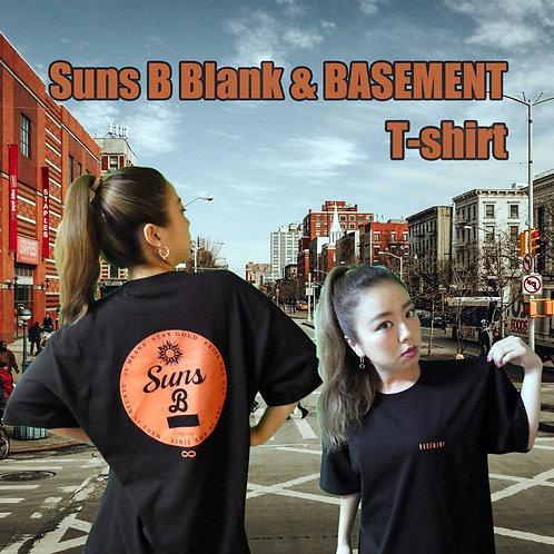 (黒×オレンジ)BASEMENT & Suns B Blank W NAMEオリジナルTシャツ