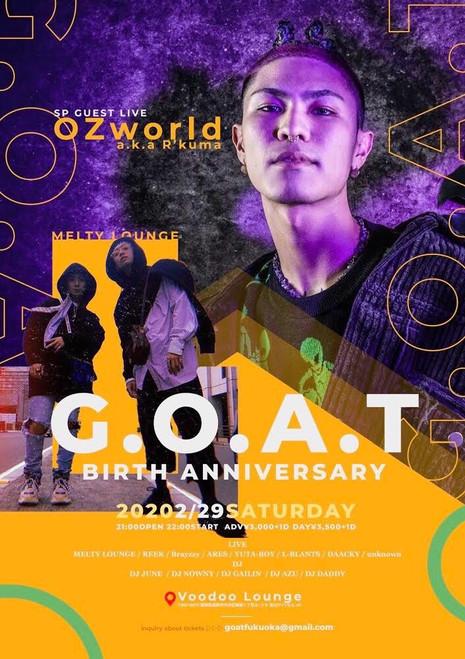 2020.02.29(SAT) G.O.A.T BIRTH ANNIVERSARY @Voodoo Lounge Fukuoka