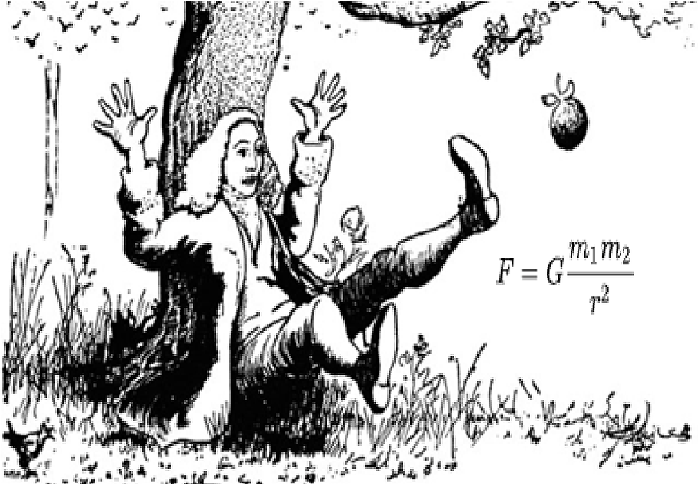 Sir Issac Newton sitting under an apple tree. An apple falls and he develops the Universal Law of Gravitation.