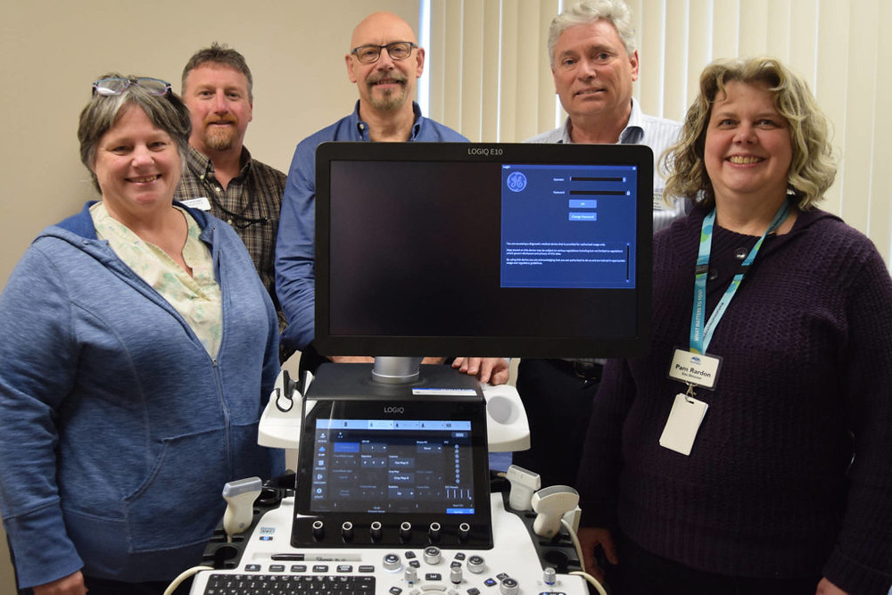 From left to right: Karen Gilbert (site supervisor for medical imaging), Mike Carter (WCGH Foundation), Dr. John Saliken (radiologist), Chris Francey (WCGH Foundation) and Pam Rardon (WCGH site director). ELENA RARDON PHOTO