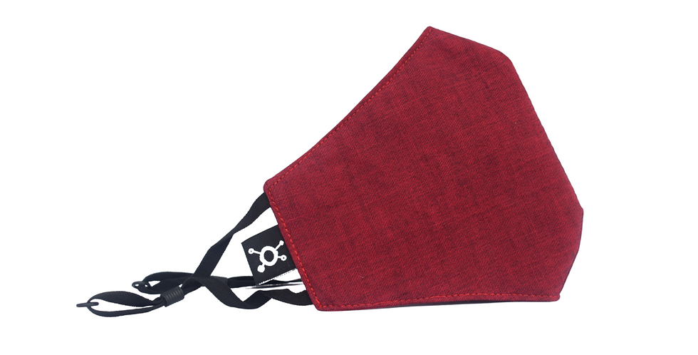 Muse Nanobots Maroon red Antiviral face mask with head loops(100% cotton)