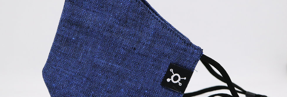 Muse Nanobots Antiviral Blue European linen Face Mask with Ear loops