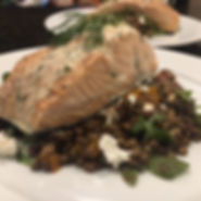Wine Poached Salmon over French Lentils