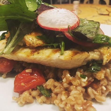 Chicken Paillard with Farro Salad
