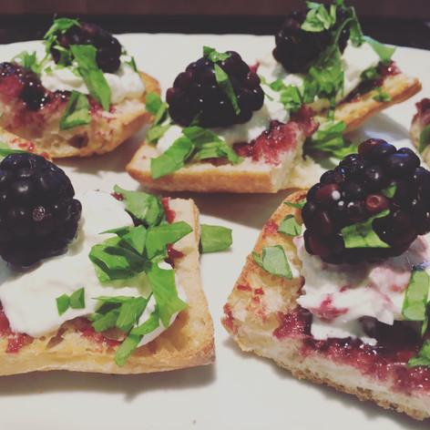 Blackberry and Burrata Crostini