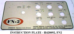 H428092- INSTRUCTION PLATE