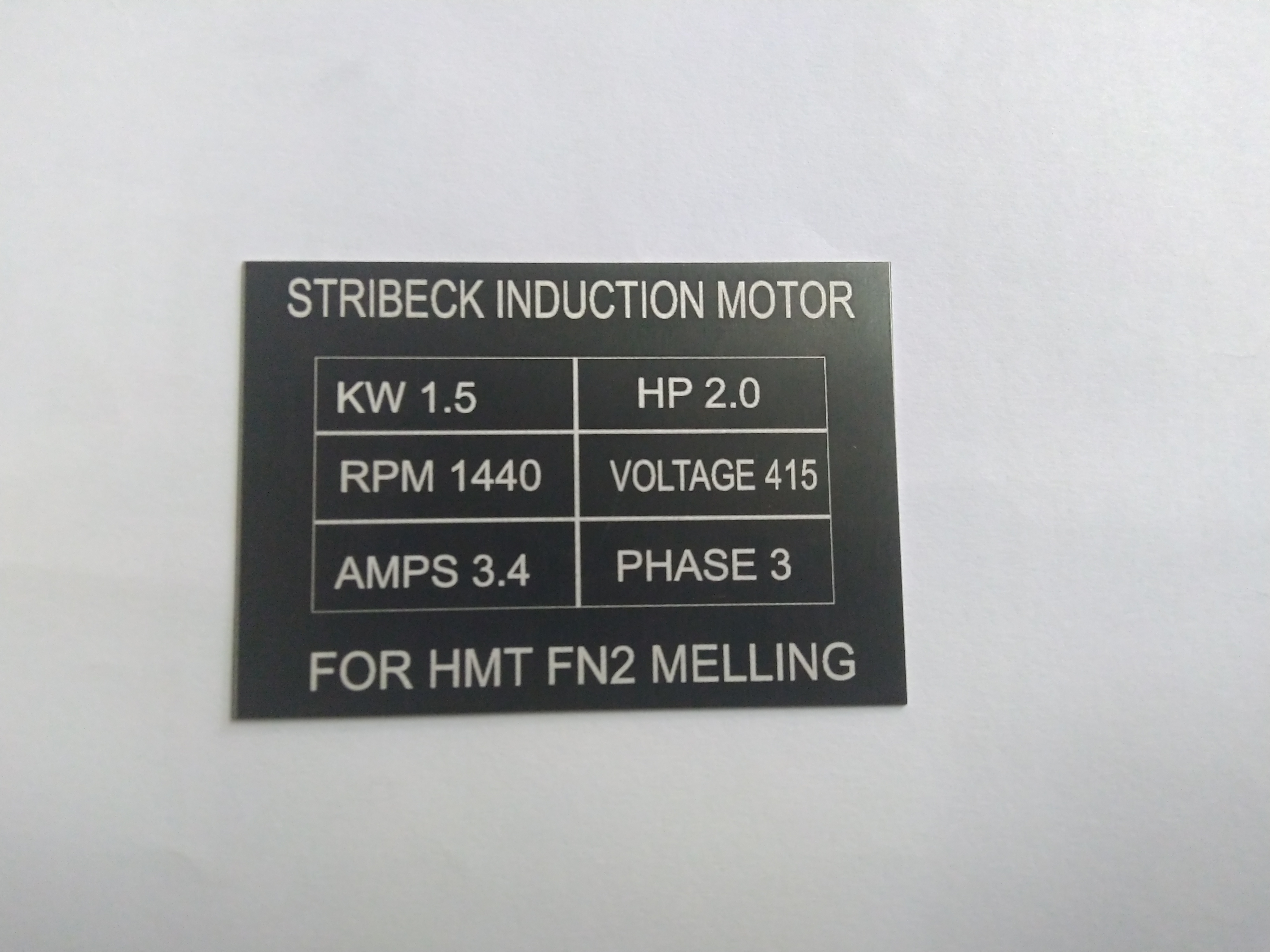 feed motor label