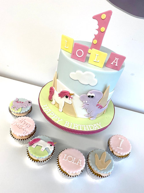 'Unicorns and dinosaurs' cake