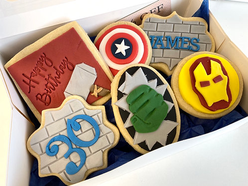 Marvel themed biscuit box