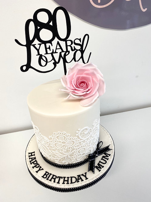 Roses and lace '... years loved' birthday cake
