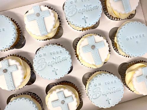Baptism themed cupcake box