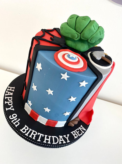 Superhero 'Four Quarters' cake