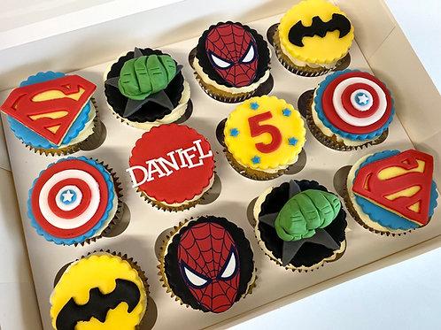Superhero themed cupcake box
