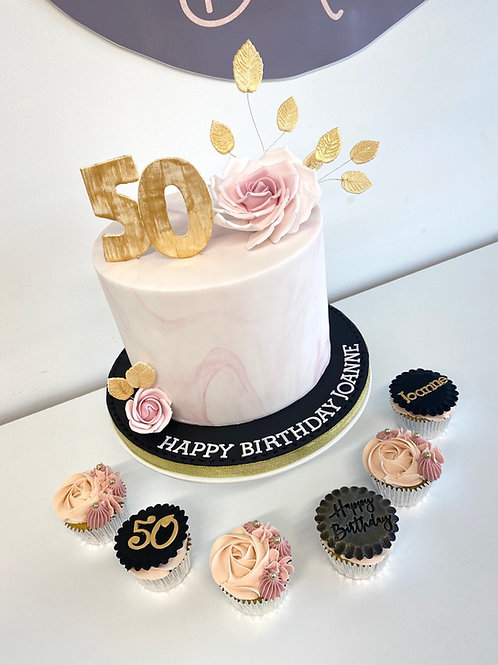 Marble, roses and gold... birthday cake