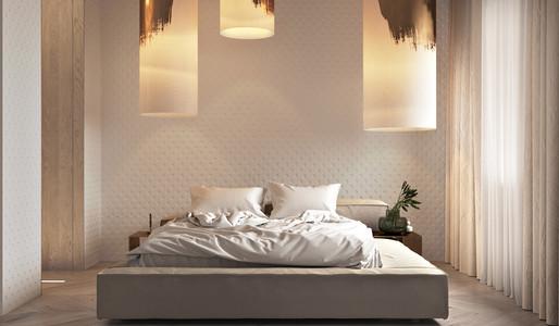 Interiér spálne s kontrastami zlatej farby (zdroj: home-designing.com)