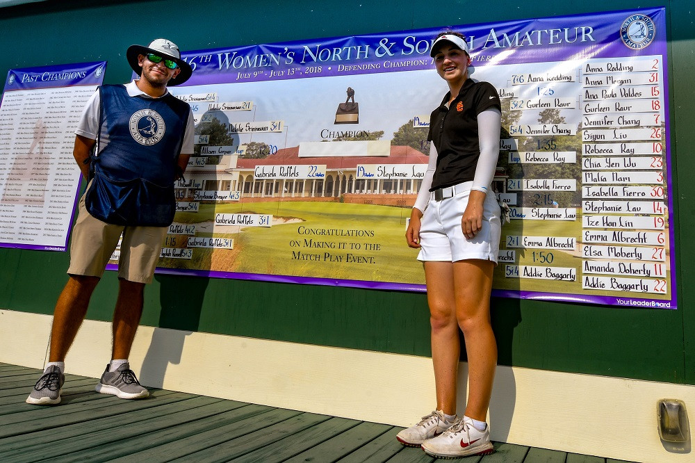 Gabi Ruffels, from Victoria, Australia and playing for USC with her local caddie, Brant Hunt, has advanced to the final round of the 116th Women's North and South Amateur in Pinehurst, North Carolina.