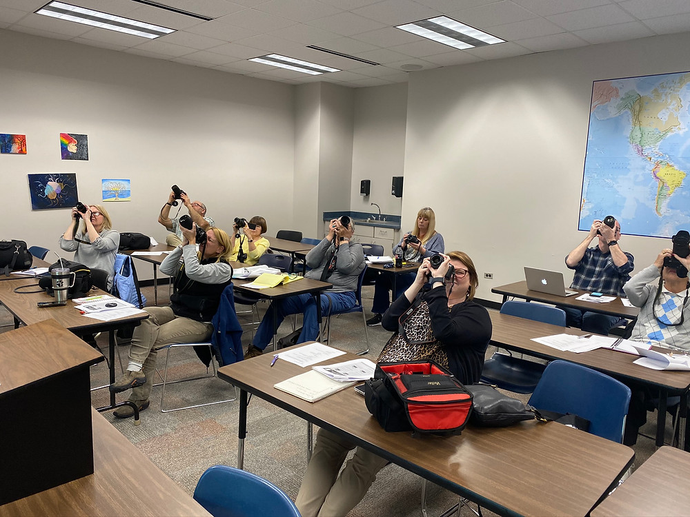Students in the Fundamentals of Photography class at Sandhills Community College.