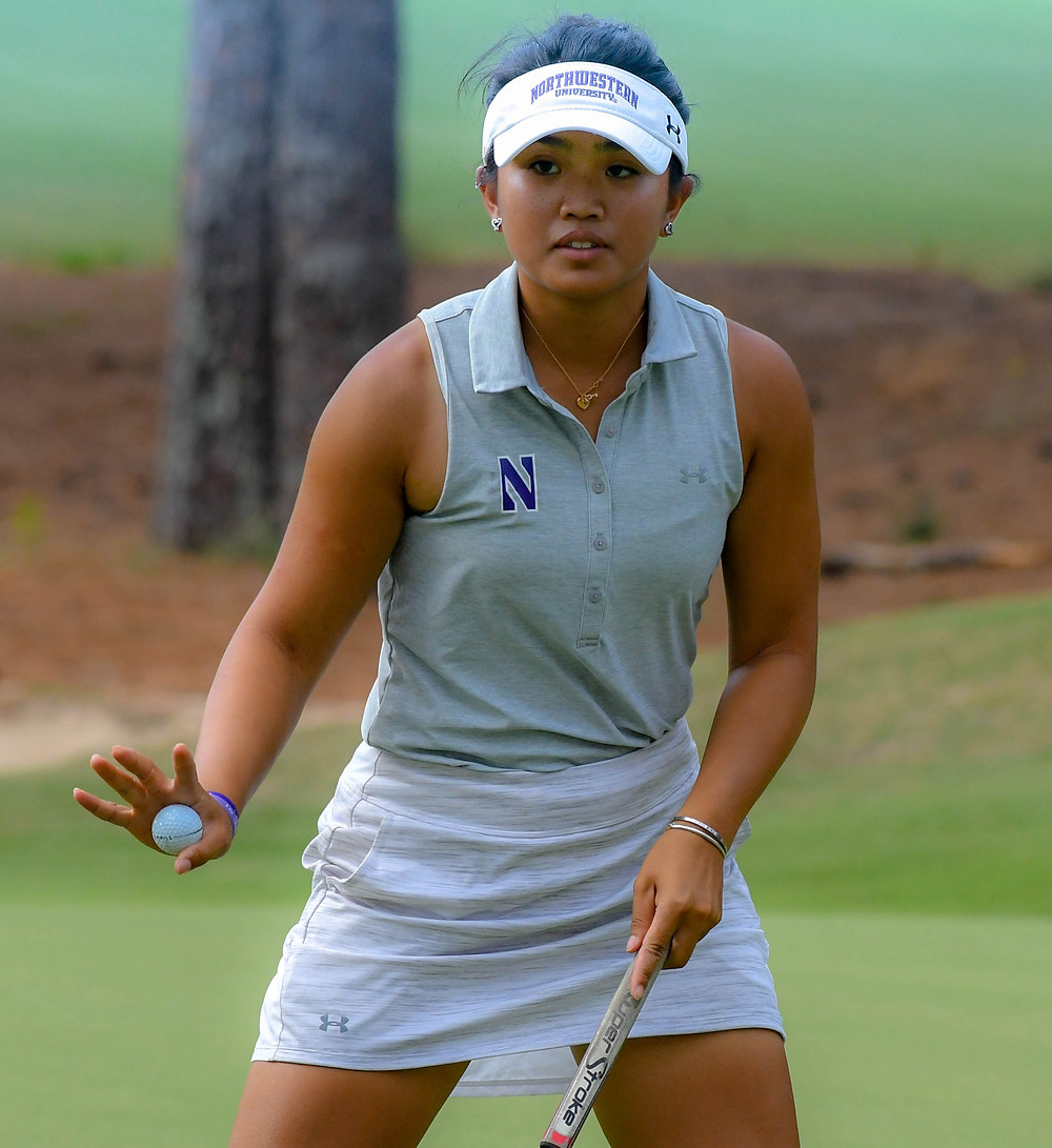 Stephaine Lau reacts to sinking a putt to take the lead on the 16th hole of Pinehurst No. 2. She would go on to win the 2018 Women's North & South Amateur.