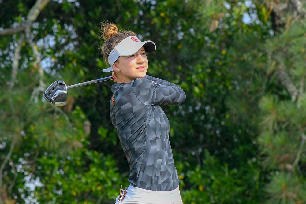 Gabi Ruffels, incoming freshman at the University of Southern California from Victoria Australia, tees of on the 16th hole of Pinehurst No. 2 Pinehurst North Carolina