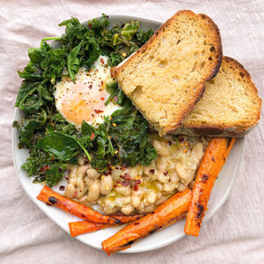 Cannellini beans,  sautéed greens + eggs