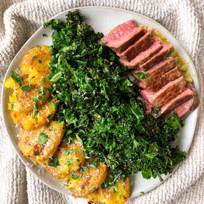 Cast Iron Steak, Smashed Potatoes, and Roasted Kale