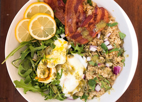 Quinoa + poached egg breakfast bowl