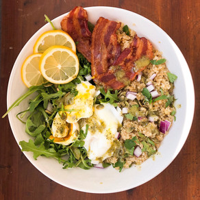 Quinoa + poached egg breakfast bowl