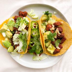 Spicy baked fish tacos with garlic mojo